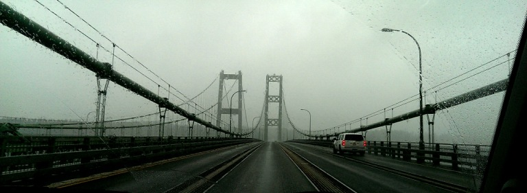Crossing the Tacoma Narrows bridge.