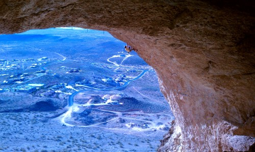 Dalton Bunker high in the Hurricave on Peregrination (14b). Photo: Chuck Odette