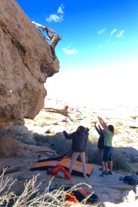 Emanuel Hudon topping out a Marioland highball with a little help from his friends.