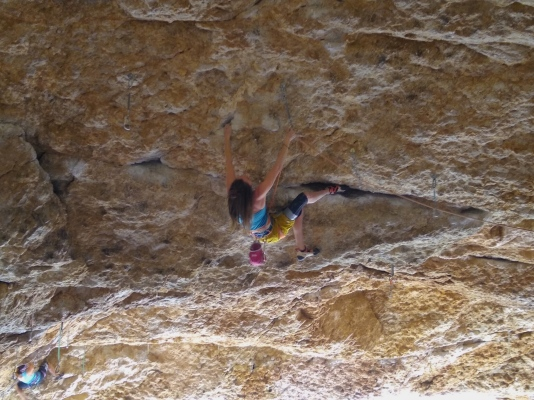 Heather moving into the Black Ball-Z crux.